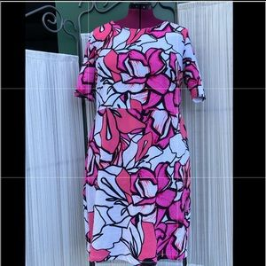 Vibrant pink floral Midi Dress- Size 18W